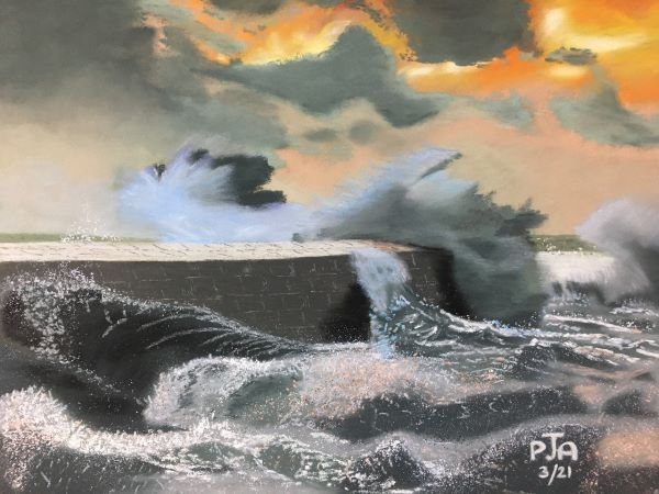 'Storm on Breakwater' by Peter Akers of Sherbourne u3a
