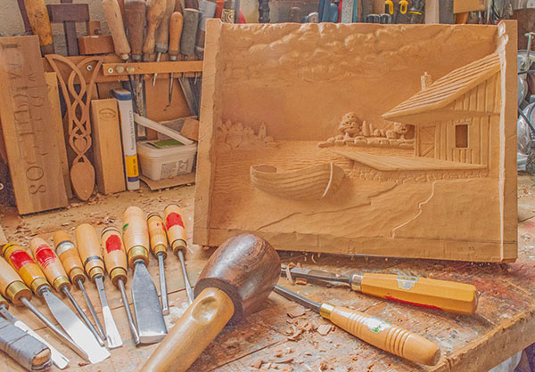 'Wood Carving In Progress' by Peter Marrs of Droitwich Spa & District u3a